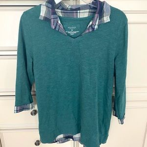 Sonoma Green Sweater with Plaid collar
